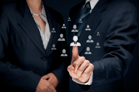 out of job: Human resources and CRM concept - officer and supervisor looking for employee represented by icon