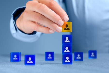 resources: Human resources officer install one person as team leader  Team composition, team configuration, teamwork, cooperation and team leader  CEO  concepts