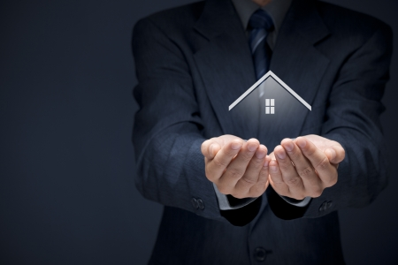 Real estate agent offer house  Property and security concept
