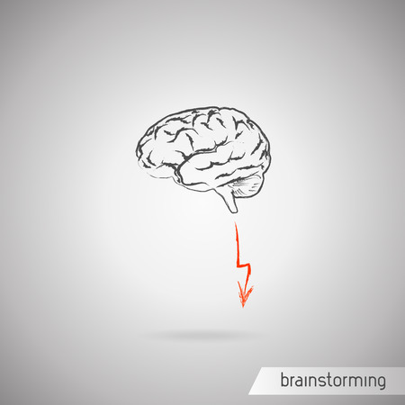 ponder: Brainstorming concept  Brain and one flash
