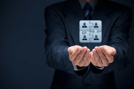 Business team, human resources cooperation, connection and unity concepts. Good team fit together like puzzle pieces. Stock Photo