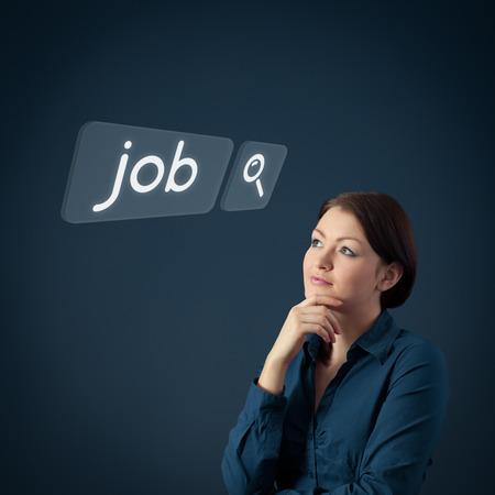 Job seeking concept  Female officer think about seeking of new job photo