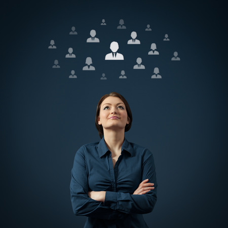 job recruitment: Human resources, CRM and social networking concept - female officer think about employee