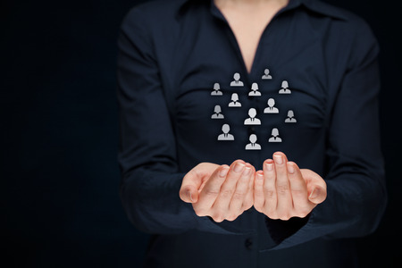 labor union: Customer care, care for employees, labor union, CRM, and life insurance concepts. Protecting gesture of businesswoman or personnel with icons representing group of people. Stock Photo