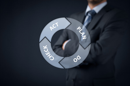 PDCA (plan–do–check–act) cycle - four-step management and business method. Manager supervise in background.  photo