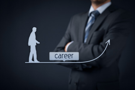 supervise: Career concept - human resources officer (HR, personnel) supervise employees career growth.