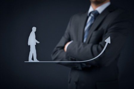 supervise: Personal development (personal growth), success, progress and potential concepts. Coach (human resources officer, supervisor) in background supervise businessman growth. Stock Photo