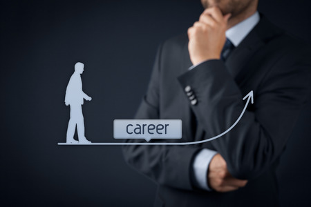 executive: Career concept - human resources officer (HR, personnel) supervise employees career growth.  Stock Photo