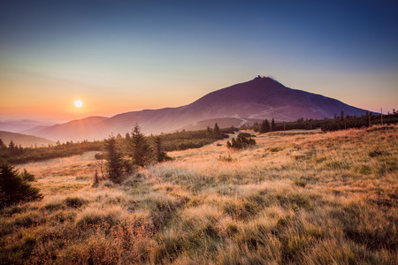 krkonose: Snezka hill in sunrise - Krkonose, Czech Republic.