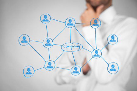 corporate social: Employees (staff, workers), customers and right contacts is the most important for company. Corporate social media connections (and B2C) with customers concept. Businessman think about contacts and their benefits for company. Stock Photo