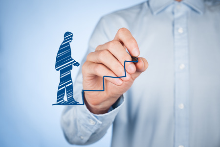 human potential: Personal development (personal growth), success, progress and potential concepts. Male coach (human resources officer, supervisor) draw stairs to help employee with his growth.