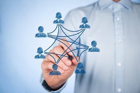 connection connections: Social media, community and interpersonal connections concept. Man draw new connection in community. Stock Photo