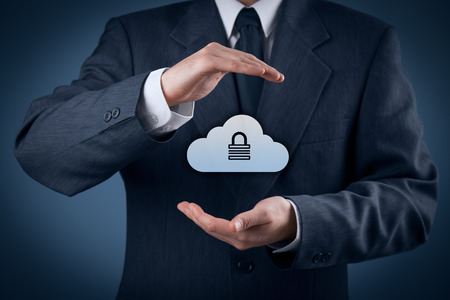 security: Cloud storage security concept. Security and safety of cloud computing data storage. Protecting gesture of safety data management specialist and cloud icon with padlock.