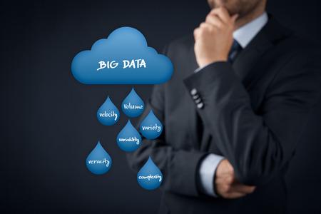 variability: Big data analytics (bigdata) and cloud computing concept. Businessman think about big data and cloud computing issues (volume, velocity, variety, variability, veracity, complexity).