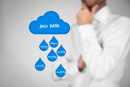 variability: Big data (bigdata) and cloud computing concept. Businessman think about big data and cloud computing issues (volume, velocity, variety, variability, veracity, complexity).
