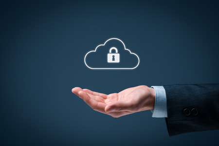 cloud services: Cloud data security services concept. Safety data management specialist offer secured cloud computing data storage represented by cloud icon with padlock. Stock Photo
