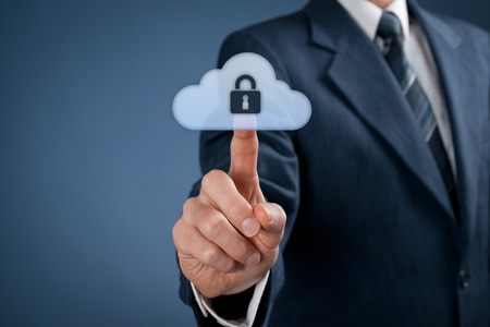 Cloud data security services concept. Safety data management specialist click on secured cloud computing data storage represented by cloud icon with padlock.