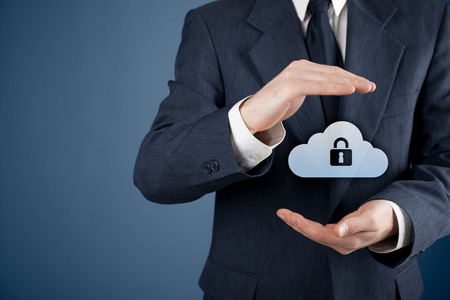 supervise: Cloud storage security concept. Security and safety of cloud computing data storage. Protecting gesture of safety data management specialist and cloud icon with padlock.