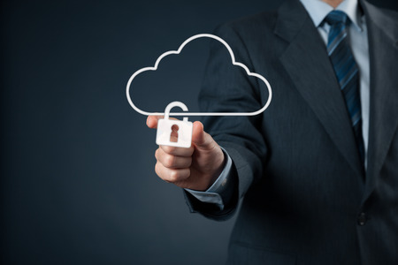 shielding: Cloud data security services concept. Safety data management specialist securely lock cloud computing data storage represented by cloud icon with padlock.