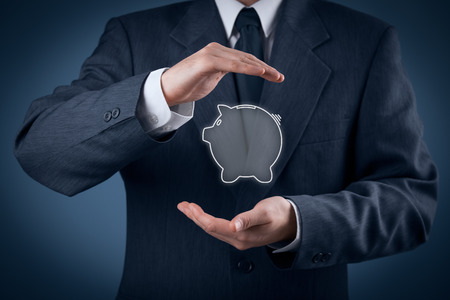 Protect your money (financial savings) and financial care (services) concept. Financial advisor (financial consultant) with protective gesture and piggy bank.