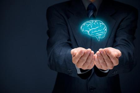 インスピレーション、創造性、革新、知的財産、ビジネス ビジョン、想像力、知性、心理学者と精神的健康の概念。