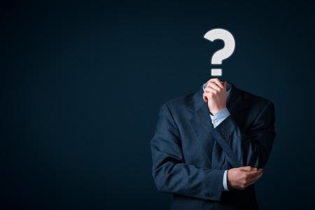 interrogativa: �Tiene una pregunta? Negocios est� lleno de preguntas concepto.