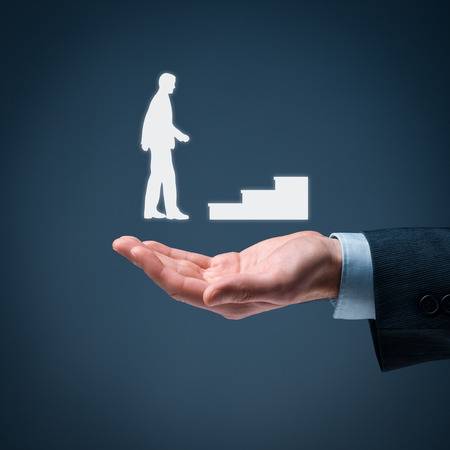 symbolized: Personal development, personal and career growth, success, progress and potential concepts. Coach (human resources officer, supervisor) and help employee with his growth symbolized by stairs. Stock Photo