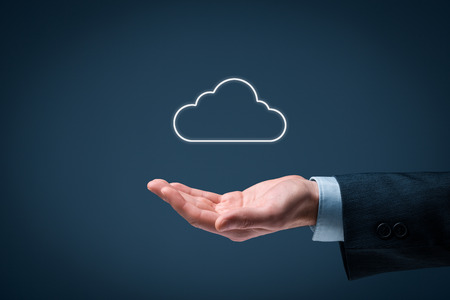 Cloud computing concept - connect to cloud. Hand with cloud computing icon.