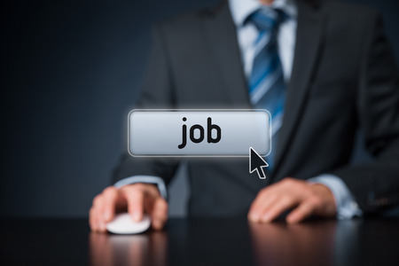 Looking for a job concept. Businessman click on virtual button with text job.