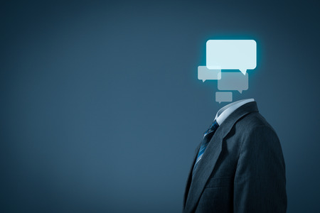 introvert: Communication concept - businessman with bubbles instead the head.