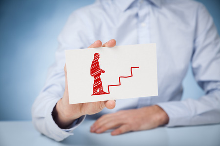 self development: Personal development, personal and career growth, success, progress and potential concepts. Coach (human resources officer, supervisor) help employee with his growth symbolized by stairs. Stock Photo