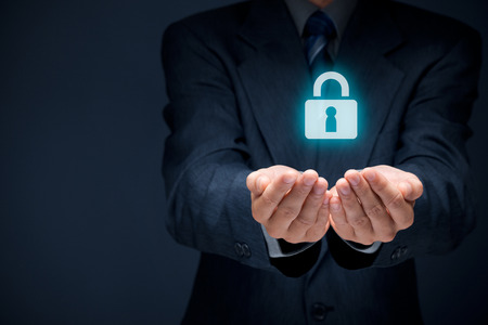 Security services and protection concept. Login, sign in concepts. Businessman offer padlock, symbol of security.