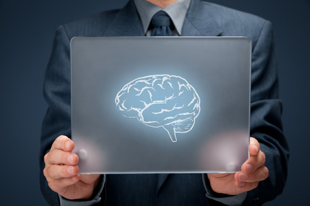 intellectual property: Headhunter, human resources (HR), think about business connected with new technologies, creativity and business vision concept. Businessman with futuristic tablet and brain on it.