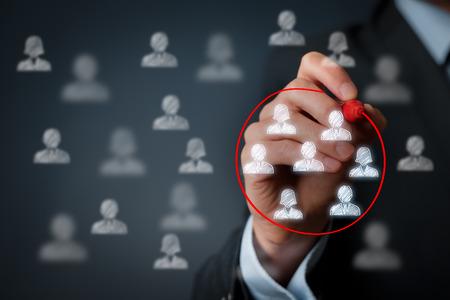 segmento: Segmentaci�n de marketing, atenci�n al cliente, gesti�n de relaciones con clientes (CRM) y los conceptos de trabajo en equipo. Foto de archivo