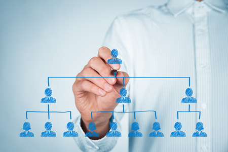 corporate people: CEO, leadreship and corporate hierarchy concept - recruiter complete team by one leader person (CEO).
