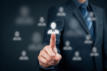 Human resources officer choose employee standing out of the crowd. Select team leader concept. Marketing customer targeting concept.