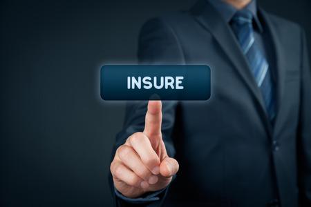 insure: Arrange insurance on-line concept. Businessman with virtual button insure.