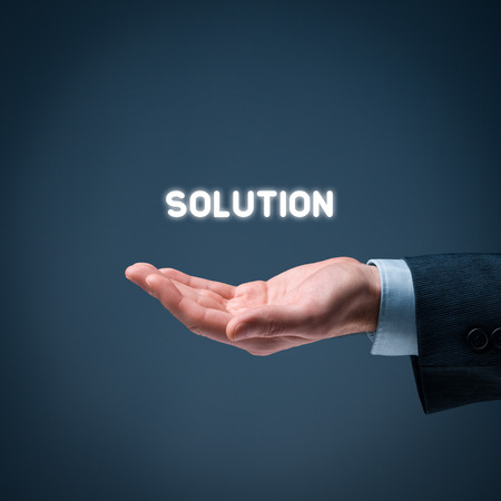 business solution: Businessman or consultant give you a business solution. Stock Photo