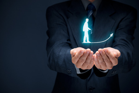 Personal development, personal and career growth, success, progress, motivation and potential concepts. Coach (human resources officer, supervisor) helps employee with his growth.