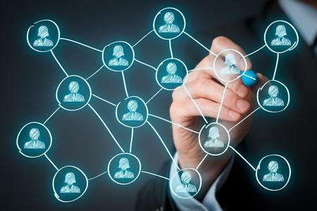 link up: Social media and community concept. Man draw new connection in community. Stock Photo