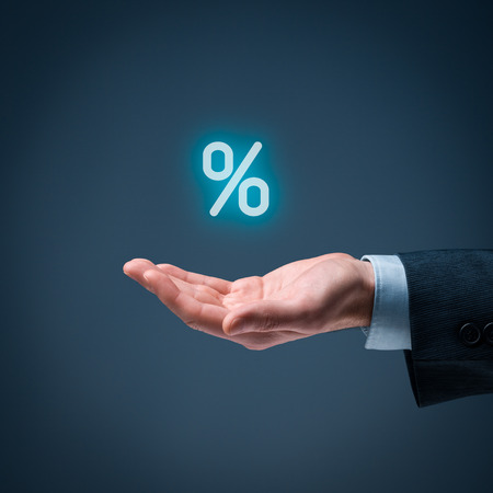 percentage sign: Discount and commission concept represented by percentage sign.