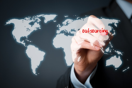 offshoring: Outsourcing, globalization and global business strategy concept. Stock Photo