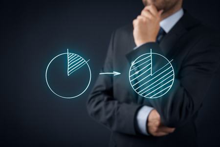 La part de marché ou le principe de Pareto (80/20) de concept. l'homme pense comment augmenter la part de marché de l'entreprise et d'appliquer le principe de Pareto. Banque d'images