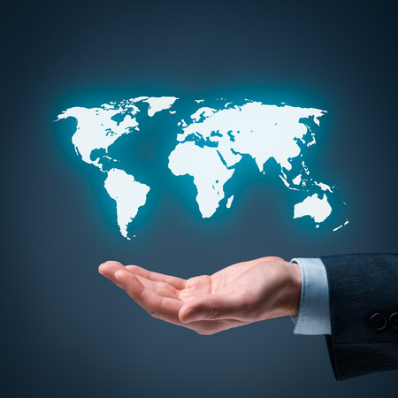 offshoring: Businessman offer map of the world representing global market and globalization.