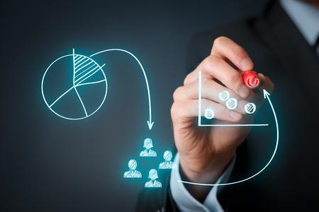 마케팅 포지셔닝과 마케팅 전략 - 세분화, 타겟팅 및 위치. 마케팅 마케팅 위치의 시각화.