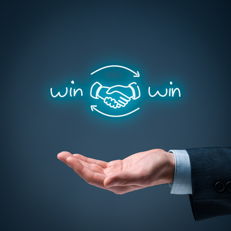 Win-win partnership strategy concept. Businessman offer win-win scheme with handshake partnership agreement.