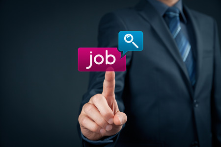 looking for work: Looking for a job on-line concept. Person click on virtual button with text find job. Stock Photo