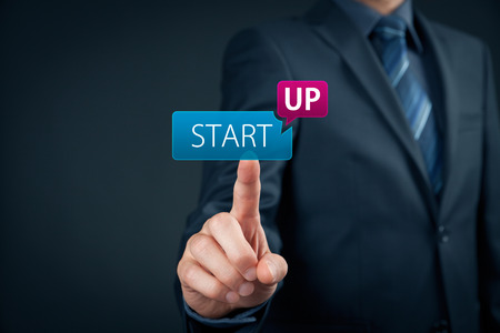accelerate: Man start his startup business. Investor accelerate start-up project concept.