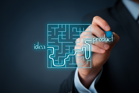 man business oriented: Long and difficult way from business idea to successful product. Marketing product specialist plan new product. Stock Photo