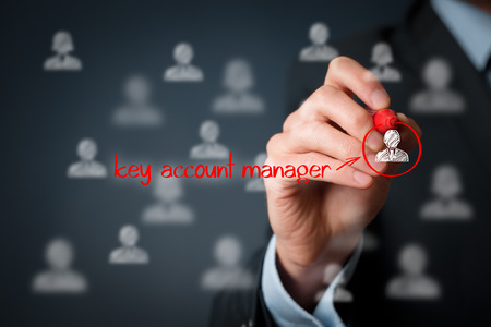 long term care services: Human resources officer (headhunter, personnel) looking for a key account manager. Stock Photo
